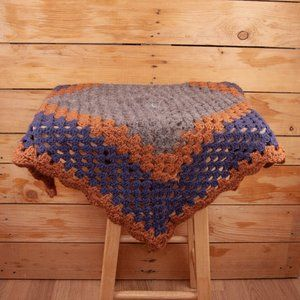 Vintage Crocheted Granny Square Small Tablecloth